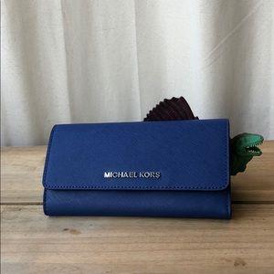 MICHAEL KORS Jet Set Trifold Wallet Sapphire - NWT